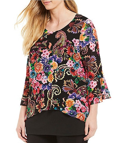 Calessa Plus Size Floral Print Layered Bell Sleeve Tunic Top