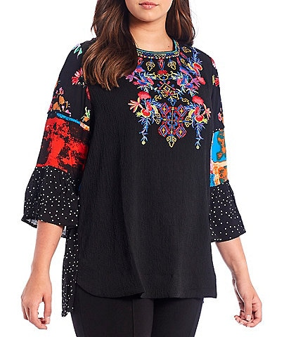 Calessa Plus Size Foulard Embroidery Patchwork 3/4 Sleeve Jewel Neck Crinkle Tunic