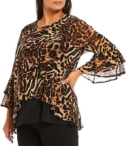 Calessa Plus Size Round Neck Double Bell 3/4 Sleeve Cheetah Print Crinkle Mesh Tunic