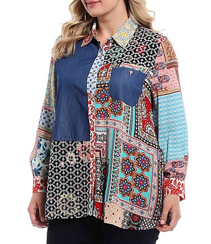 Calessa Plus Size Mixed Panel Button Down Long Sleeve Pocket Tunic