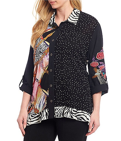 Calessa Plus Size Mixed Print Button Front Roll-Tab Sleeve Tunic