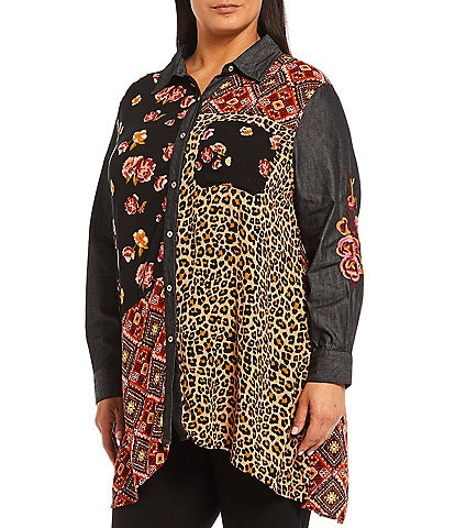 Calessa Plus Size Point Collar Long Sleeve Patchwork Button Front Tunic