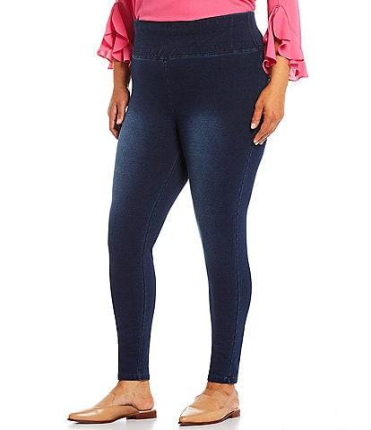 Calessa Plus Size Ponte Delux Denim Knit Leggings