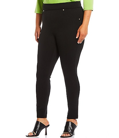 Calessa Plus Size Ponte Knit 4-Way Stretch Skinny Ankle Leggings