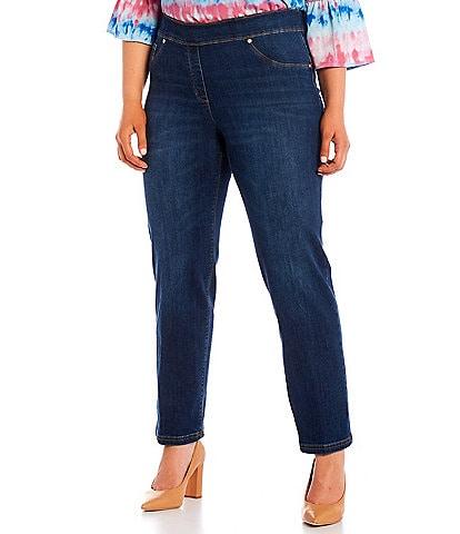 Calessa Plus Size Stretch Denim Slim Straight Leg Leggings