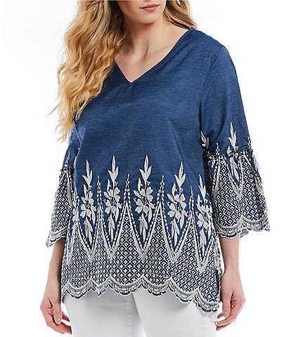 Calessa Plus Size V-Neck Embroidered Bell Sleeve Tunic Top