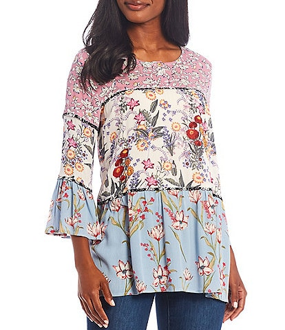 Calessa Round Neck 3/4 Ruffle Sleeve Tiered Floral Print Top