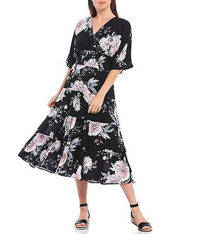 Calessa Short Sleeve Floral Tiered Smocked Waist Midi Dress