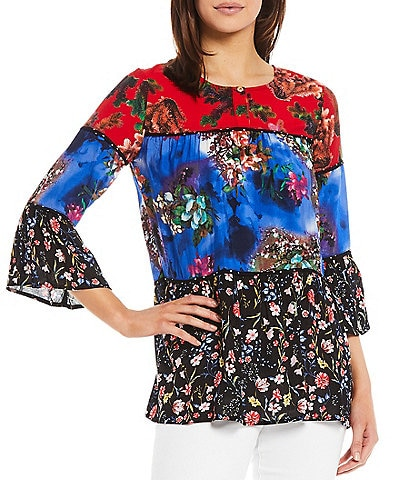 Calessa Tiered Mixed Floral Print Scoop Neck Long Bell Sleeve Tunic