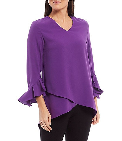 Calessa V-Neck 3/4 Ruffle Sleeve Crossover Hi-Low Tunic