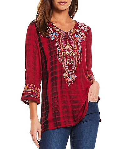 Calessa V-Neck 3/4 Sleeve Embroidered Crinkle Tie-Dye Tunic
