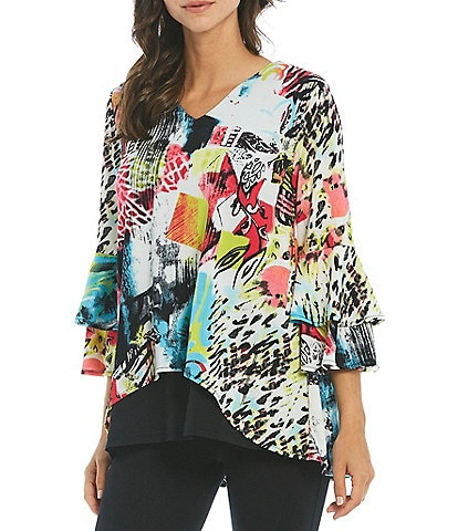 Calessa V-Neck Bell Cuff Floral and Animal Print Mesh Overlay Tunic