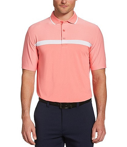 Callaway Golf Swing Tech Fine Line Color Block Short Sleeve Polo Shirt