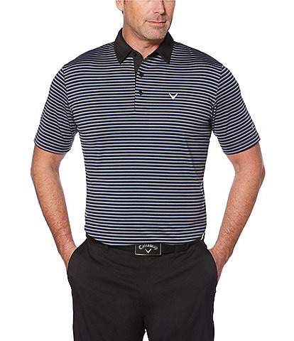 Callaway Short-Sleeve Cooling Tonal 3-Striped Polo