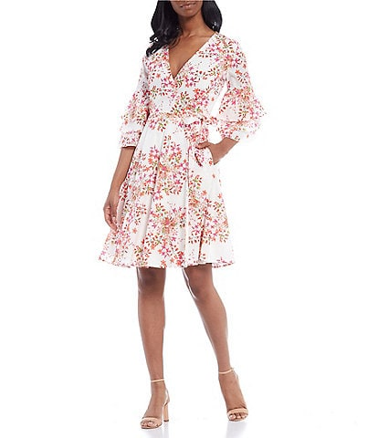 Calvin Klein 3/4 Bell Sleeve Floral Printed Cotton Wrap Dress