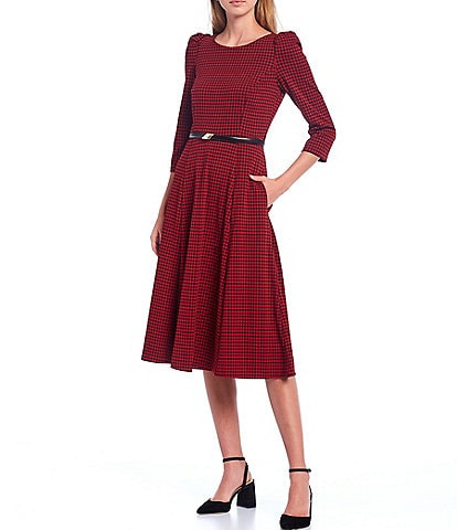 Calvin Klein 3/4 Puff Sleeve Houndstooth Belted Midi Dress