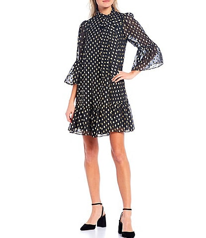 Calvin Klein 3/4 Sleeve Tie Neck Metallic Dotted Burnout Shift Dress