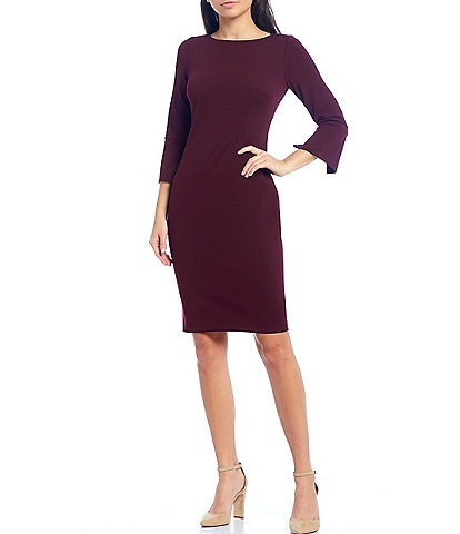 Calvin Klein 3/4 Split Sleeve Scuba Sheath Dress