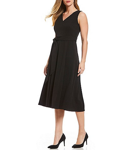 Calvin Klein Tie Waist V-Neck Sleeveless A-Line Midi Dress
