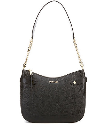 Calvin Klein Adrianna Leather Chain Zip Top Hobo Bag