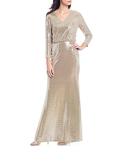 Calvin Klein Allover Metallic Sequin Knit Blouson Shoulder Cutout Gown
