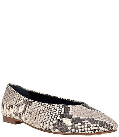 Calvin Klein Anete Snake Print Leather Square Toe Flats