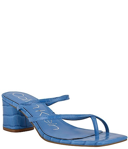 Calvin Klein Becca Croc Embossed Square Toe Thong Slide Sandals