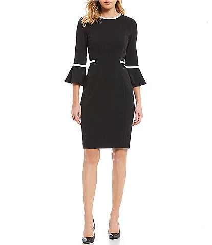 Calvin Klein Bell Sleeve Piping Detail Dress