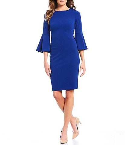 Calvin Klein Bell Sleeve Round Neck Sheath Dress