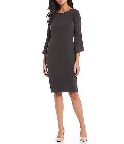 Calvin Klein Bell Sleeve Sheath Midi Dress