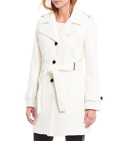 Calvin Klein Belted Faux Wool Trench Coat