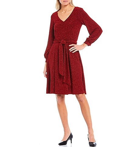 Calvin Klein Belted Long Sleeve Glitter Knit A-Line Dress