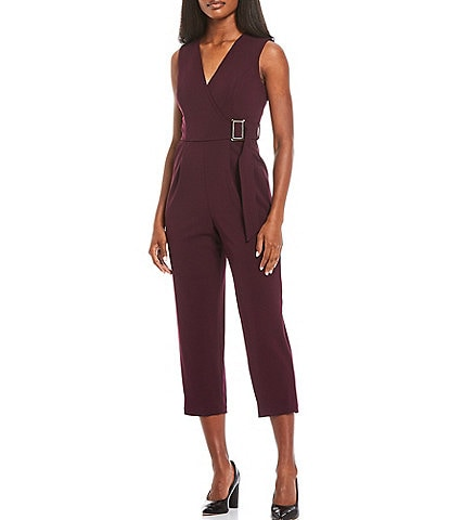 Calvin Klein Belted Scuba Crepe Sleeveless Cropped Jumpsuit