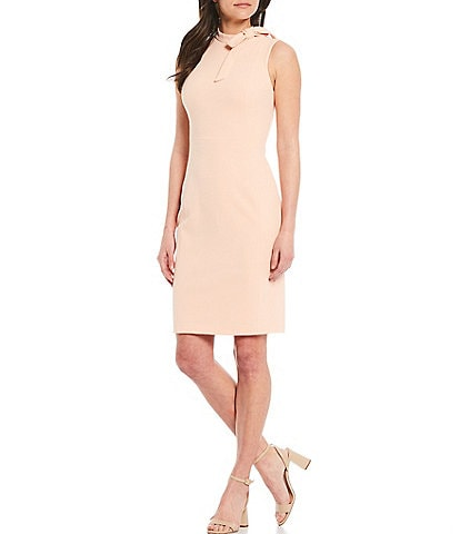 Calvin Klein Bow Neck Sleeveless Crepe Sheath Dress