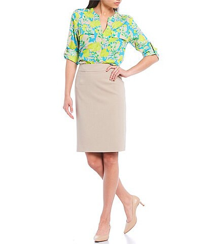 Calvin Klein Bright Shadow Floral Print Crepe de Chine Roll-Tab Sleeve Top
