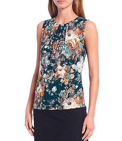 Calvin Klein Brushed Floral Print Matte Jersey Pleat Neck Sleeveless Top