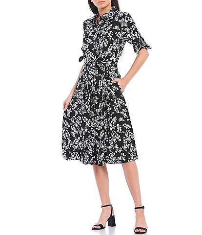 Calvin Klein Button Front Floral Crepe Short Sleeve Tie Waist Midi Shirt Dress