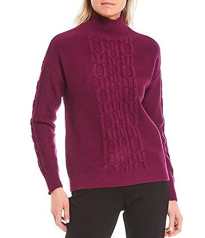 Calvin Klein Chain Stitch Detail Mock Neck Long Sleeve Sweater