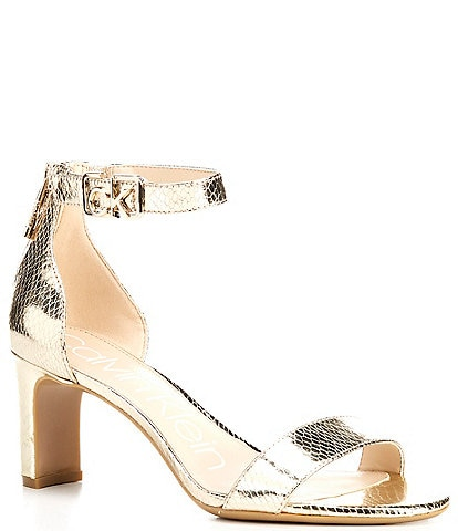Calvin Klein Chanda Metallic Embossed Python Logo Detail Dress Sandals