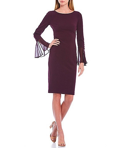 Calvin Klein Chiffon Bell Sleeve Sheath Dress