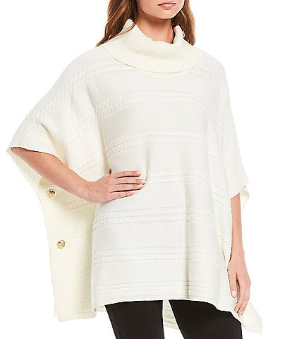 Calvin Klein Cowl Neck Cable Stripe Poncho Sweater