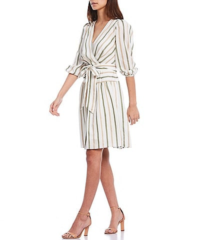 Calvin Klein Cross Front V-Neck 3/4 Sleeve Striped Belted Dress