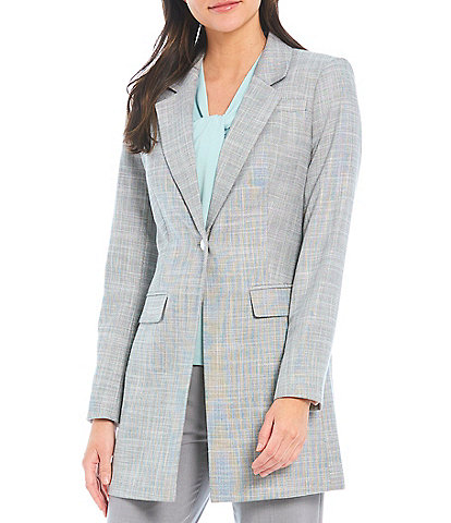 Calvin Klein Crosshatch Stretch Lux Suiting Notch Lapel One-Button Front Topper Jacket