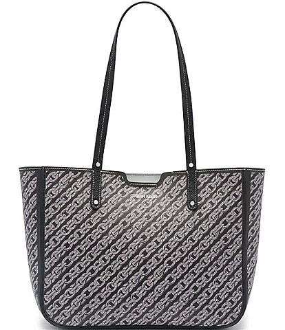 Calvin Klein Dilan Chain Link Print Leather Snap Tote Bag