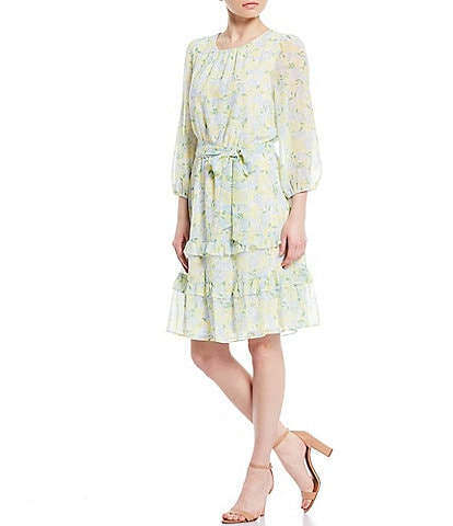 Calvin Klein Ditsy Floral Print Chiffon Ruffle Trim 3/4 Sleeve Belted Dress
