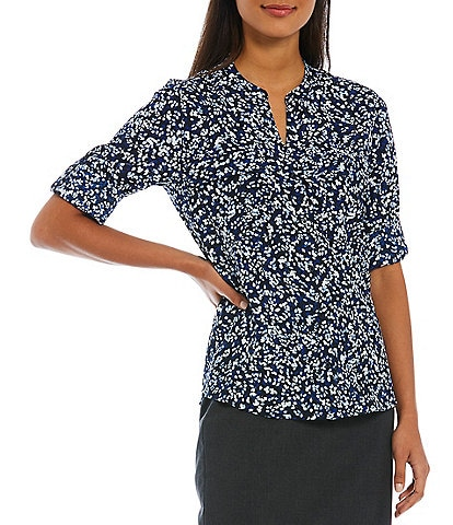 Calvin Klein Ditsy Floral Print Crepe de Chine Split V-Neck Long Roll-Tab Sleeve Button Front Top