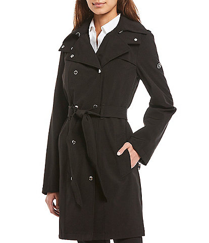 Calvin Klein Double Breasted Soft Shell Trench Coat with Removable Hood