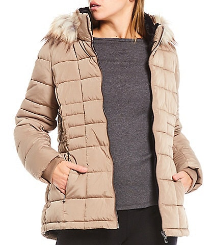 Calvin Klein Double Layer Polyfill Puffer Coat with Faux Fur Trimmed Hood