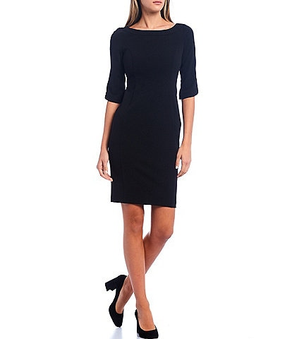 Calvin Klein Elbow Sleeve Boat Neck Sheath Dress