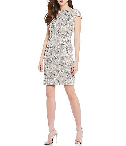 Calvin Klein Embroidered Sequin Cowl Back Cap Sleeve Sheath Dress